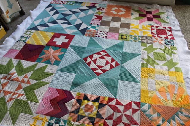 Piece N Quilt: Modern Building Blocks Quilt - Custom Machine Quilting by Natalia Bonner