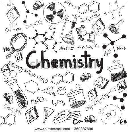 Chemistry science theory and bonding formula equation, doodle handwriting and tool model icon in white isolated background paper used for school education and document decoration, create by vector