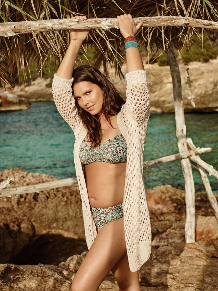 Candice Huffine stars in Violeta by Mango's summer 2016 swimsuit campaign