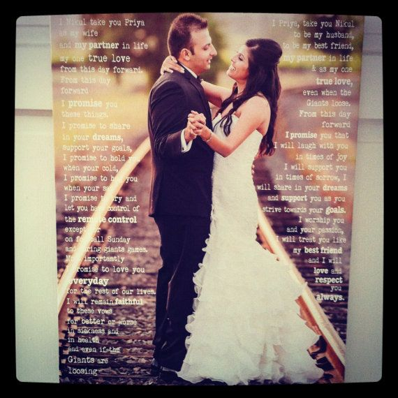 Photo Canvas Personalized With Words 20x30 Wedding Vows First Dance Song Lyrics Gift For The Newlyweds