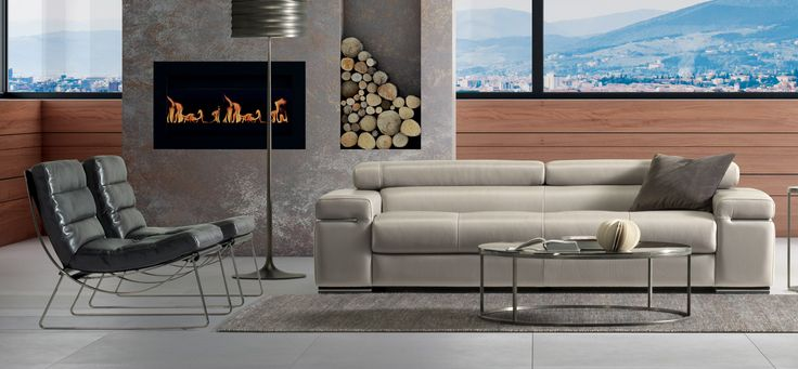 The Avanana - One of Natuzzi's best loved models for its functionality and versatility.  Sofa available in linear or corner versions, with or without chaise longue. Upholstery in exquisite Natuzzi leather. The metal tubing which runs along the armrest and side of the sofa matches the metal insert of the wooden feet. Stitching is available in contrasting colours. Quilted seat cushion to emphasise the refinement and craftsmanship of the piece.