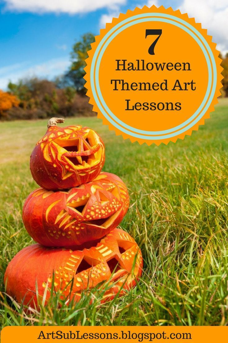7 elementary art lessons with a Halloween theme. Easily adapted for art sub lessons.  Easy to teach and fun to do.  #HalloweenArtLesson