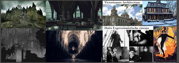 Voor de gebouwen die hij gebruikt haalde hij inspiratie uit de victoriaanse architectuur. Hij hield ook van duits-expressionistische cinema. Dit waren zwart-wit films, met gotische decors, low-key belichting met  lichtbron en grote schaduwen.