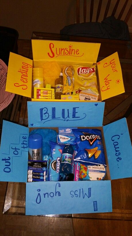 Care package for sisters at college! (School colors )
