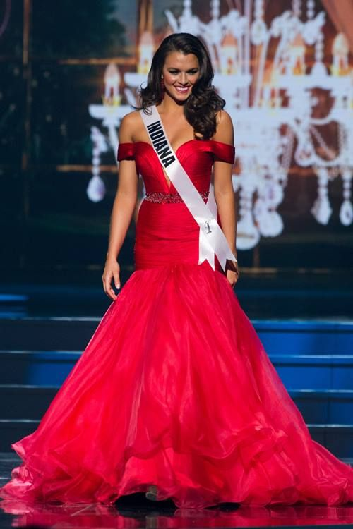 Mekayla Diehl, Miss Indiana USA 2014, in her official evening gown on stage at Miss USA Preliminary Night. Her Custom Sherri Hill Pageant Gown and Stefanie Somers Earrings from Ashley Rene's! Voted Best Dress at Miss USA!