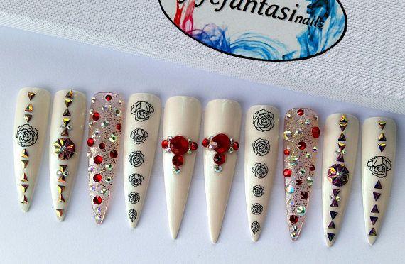 Mermaid Stiletto Nails Fake Nails False nails Swarovski
