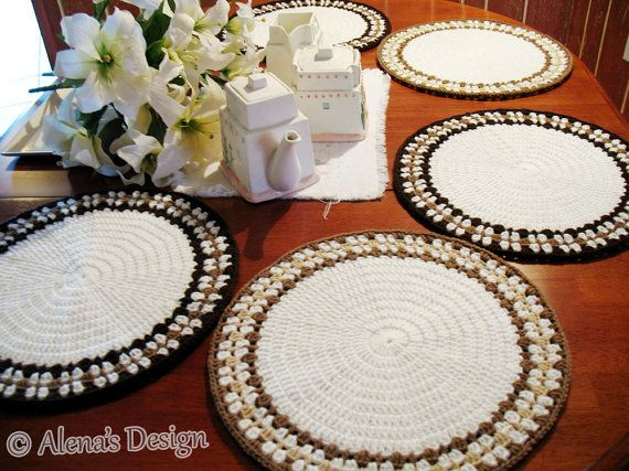 Crochet Placemat Pattern 166  Intricate Banded Placemat
