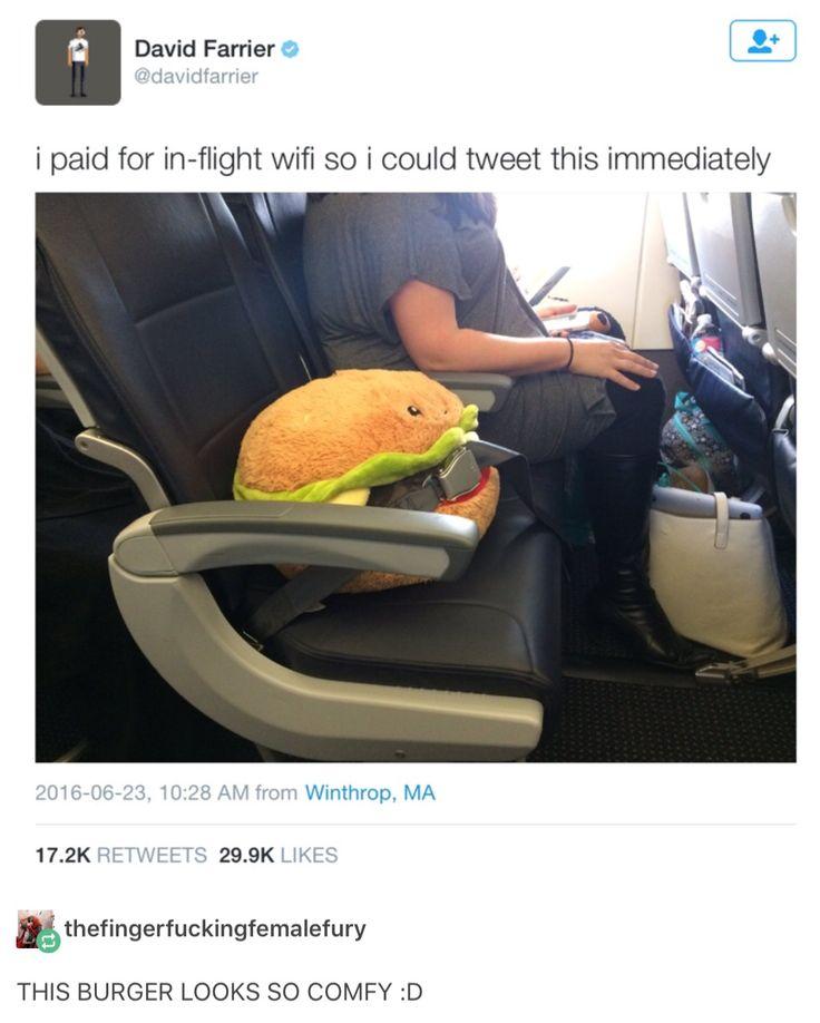 That burger looks like it's eating the seatbelt.