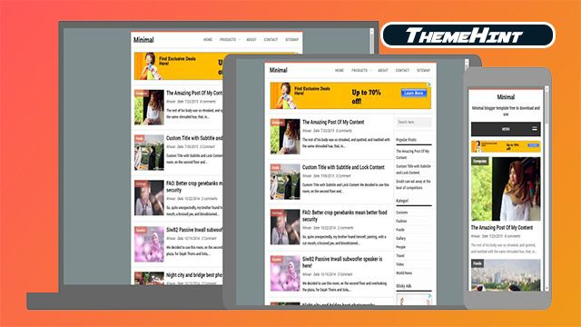 Minimal Premium Blogger Template Free Download By Themehint In 2020 Free Blogger Templates Blogger Templates Templates Free Download