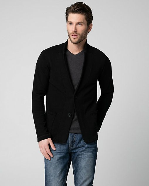 Knit Slim Fit Blazer - This knit blazer designed in a slim fit is a fashion-forward, yet comfortable option to complete your everyday look.