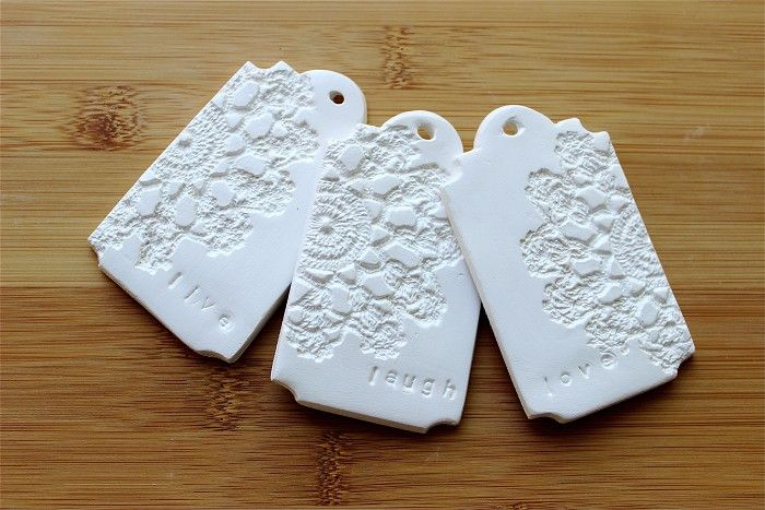 Clay Tags - LIVE, LAUGH, LOVE - Doily Embossed Gift Tags (3) - White Clay - by redpunchbuggy on madeit