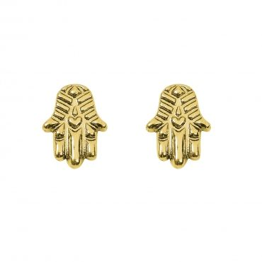 """Hamsa Earrings - Available in Gold and Silver. Get 25% off these earrings with code """"foxypin"""" http://www.foxyoriginals.com/Hamsa-Earrings-in-Gold.html Tags: gold earrings, Hamsa, imaginary voyage, gold jewelry, foxy originals, studs"""