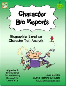 $ Character Bio Reports - Aligned with Common Core Writing (Grades 3 - 6) This 20-page packet offers lessons on how to write a report on a famous person or book character. Instead of copying notes from an outside source, students will organize their reports around their topic's character traits.Teaching Resources, Reports Writing Grade 3, Grade 6 Reading, Common Cores Writing, Book Character, Character Traits, Character Bio, Classroom Ideas, Bio Reports