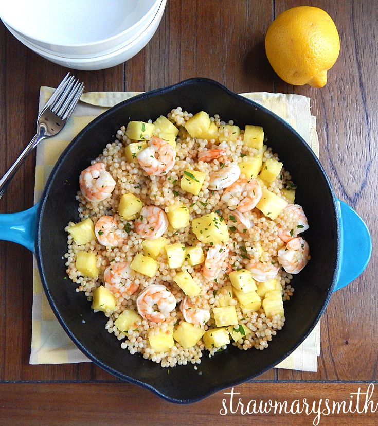Pineapple Shrimp Couscous Skillet. Sweet pineapple, hearty shrimp, and a lemony dressing make this dinner for two light and bright!