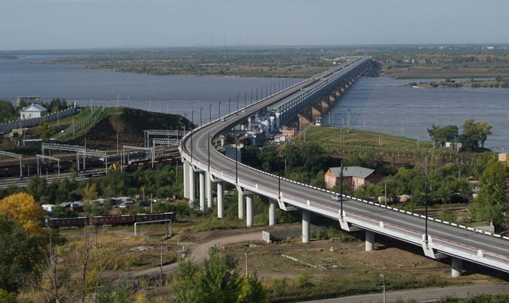 The bridge across the Amur River in Khabarovsk City