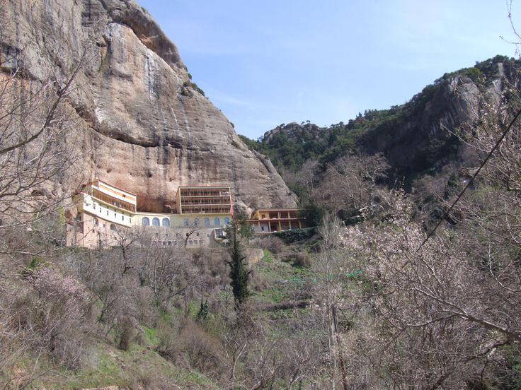 """Monastery of """"Mega Spilaio"""", Kalavryta: This very historic monastery is literally built in the rocks. It houses a very very old icon (4th century AD) made of mastic and wax. You can visit it on the way to the also historic mountain town of Kalavryta, site of one of the most infamous massacres of the German occupation."""