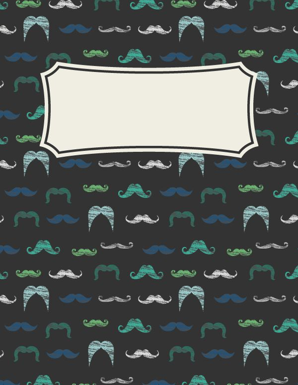 Free printable mustache binder cover template. Download the cover in JPG or PDF format at http://bindercovers.net/download/mustache-binder-cover/