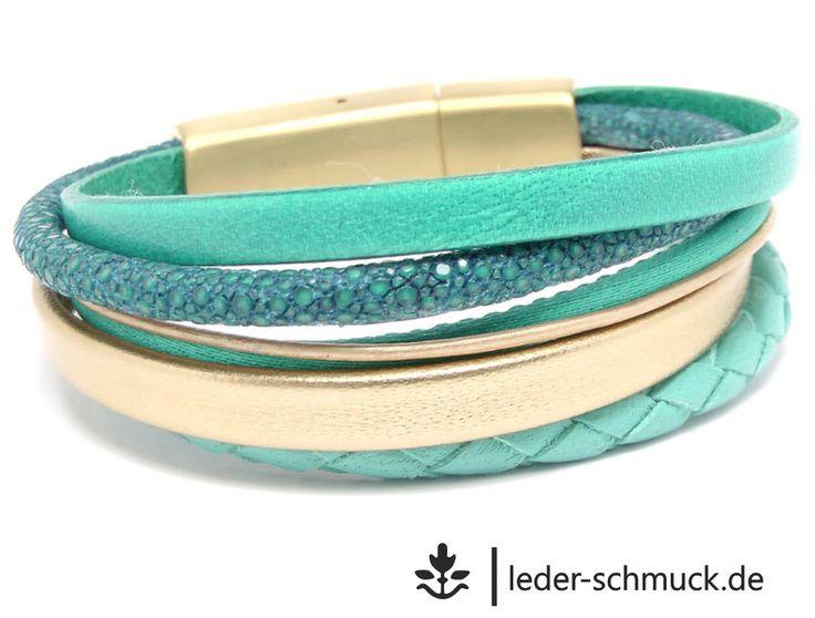 Lederarmbänder - Lederarmband Damen | GOLD | türkis - aqua | Rochen - ein Designerstück von LEDER-Schmuck bei DaWanda