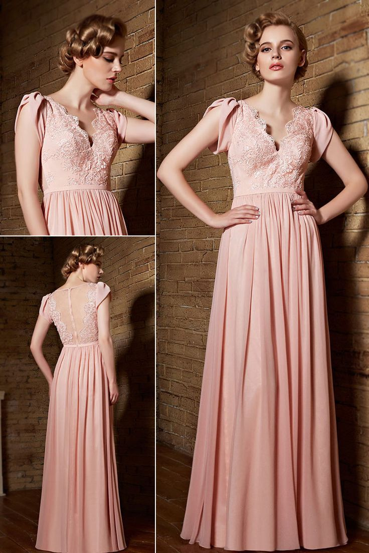 Dressesmall #Sexy V Neck A Line #Long #Pink #Evening #Dress With Short Sleeves