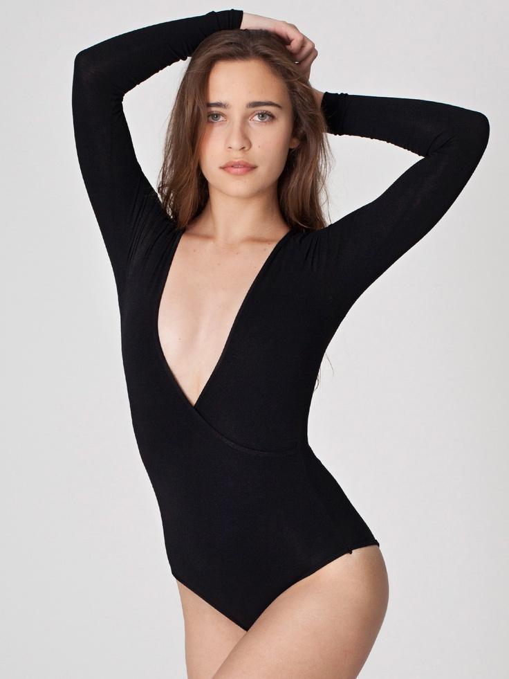 Cotton Spandex Jersey Cross-V Bodysuit | Bodysuits | New & Now's Women | American Apparel
