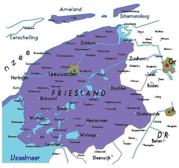 Google Image Result for http://www.map-of-netherlands.co.uk/images/friesland.gif (Leeuwarden)