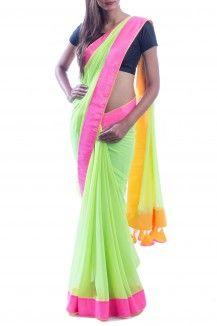 Pink & Green Neon Saree
