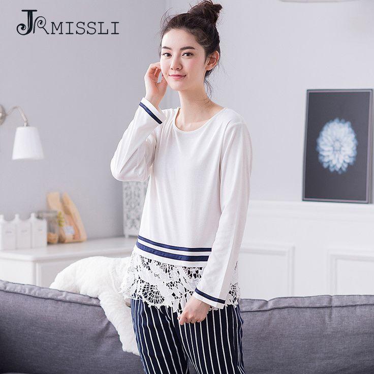 JRMISSLI  Plus Size M-XXL Women Pajamas Sets 100% Cotton Nightwear Autumn Long Sleeve Pyjamas Lace Sleepwear Female A9063 #Affiliate