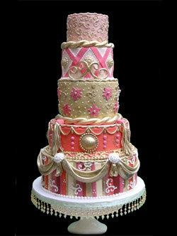 Pink, coral, gold and orange rococo wedding cake...wow