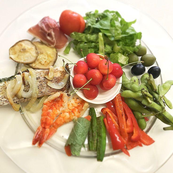 """Dr. Yumi Nishiyama's """"The Original Diet Plate"""" for beauty & health from japanese doctor‼️  Clockwise eating healthy foods from 12 o'clock on a large plate❣️  2017年7月14日の「ドクターにしやま由美式時計回り食べダイエットプレート」:女性医師が栄養バランスを考えた、美味しいプレートのご紹介。  大きめのプレートに、血糖値を急激に上げないように考えた食材を並べ、12時の位置から順番に食べるとても分かり易い方法です。  血糖値を上げないこの食べ方は、身体に優しく栄養補給ができるので健康を維持できます。オリジナルの⭐️西山酵素⭐️も最後に飲みます。  にしやま由美東京銀座クリニック 東京都中央区銀座2-8-17 ハビウル銀座Ⅱ 9階 Tel.03-6228-7950"""