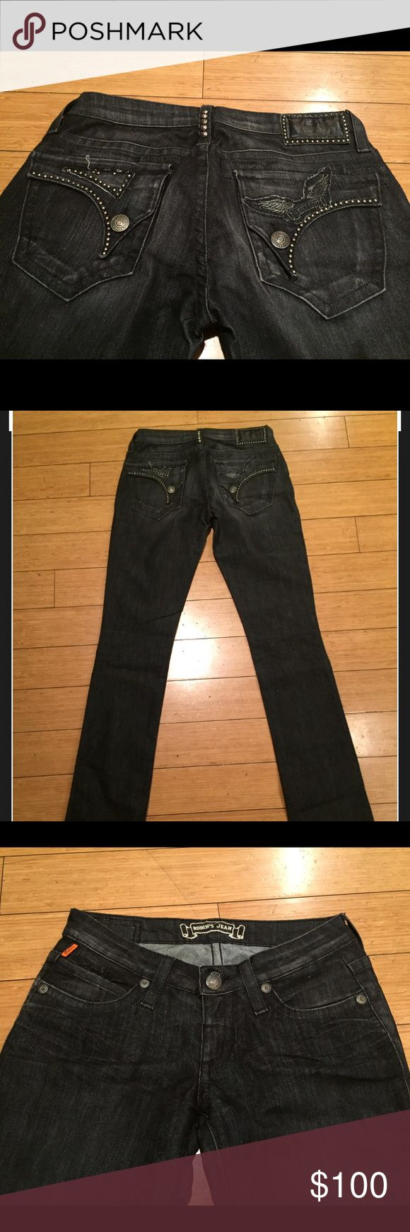 Designer Robin's Jeans. Great condition! Size 27. Black//Drk Gray Designer Robin's Jeans. Great condition! Size 27. Silver wing detail. Runs small. Not much stretch but fits amazing. Gives you a realy nice butt!!! 😍 Robin's Jean Jeans Straight Leg