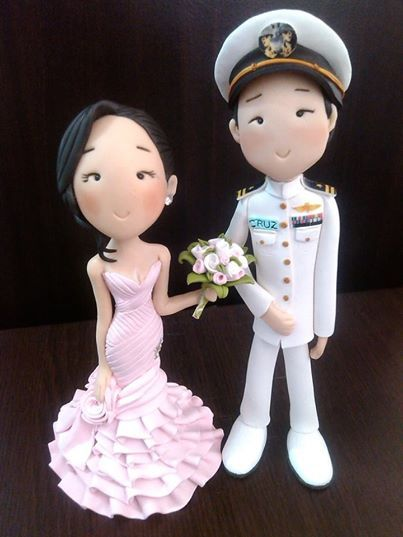 polymer clay bride and groom cake topper by #mavicrafts