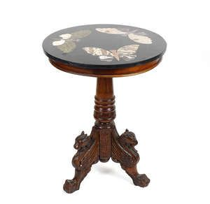 LOT:815   A carved mahogany table with inlaid marble top