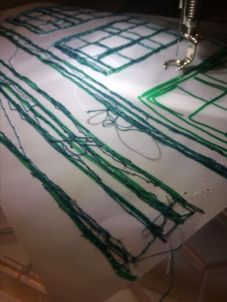 16/1/17 I used the sewing machine to stitch over the top of my tracing paper samples using green thread. This time i tried to present thicker lines by thoroughly stitching in the same place to fill solid colour.
