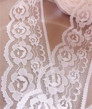 Width 60mm Beautiful white 2 yards Embroidered Net Lace Trim Garment ribbon headband wedding party decoration DIY Accessories(China (Mainland))