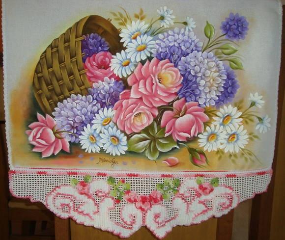 Pano de copa com pintura em tecido e croche tecido estilotex,100% algodao R$ 85,00