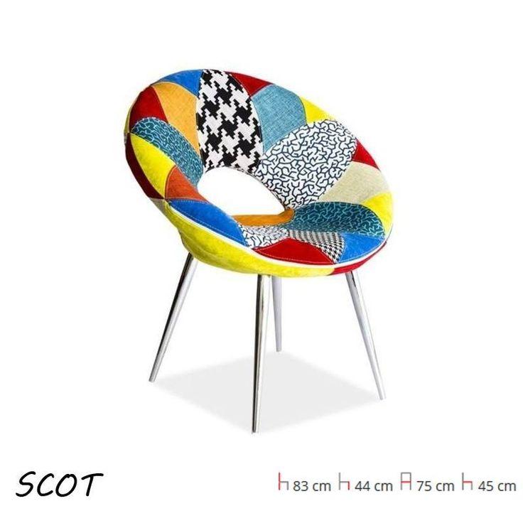 Scot kis méretű kör fotel: szövet patchwork / króm lábak. Téged is levett a lábáról a Patchwork stílus? Akkor nézd meg ezeket a termékeinket!