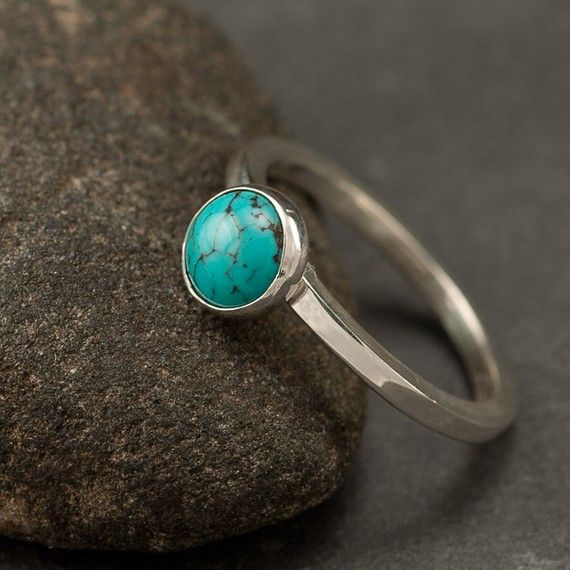 Turquoise Ring Blue Stone ring Sterling Silver Ring by Artulia