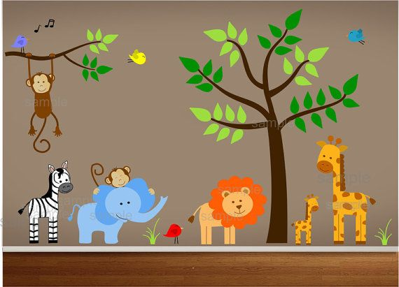 Jungle Wall Decal Nursery sticker includes a tree, branch, monkeys, elephant, zebra, lion, baby giraffe, mom giraffe and birds. This decal named