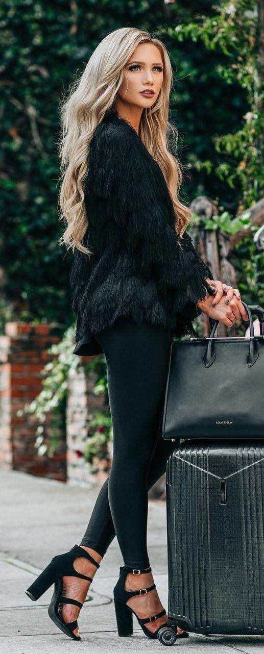 #preppy #fashion /  Black Faux Fur Jacket // Black Leggings // Black Sandals