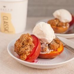 Mini peach crisps made by topping peach halves with oat, yogurt and maple crisp topping. Sweet summer treats ready in under 30 minutes!: Minis Peaches, Peachcrisp Cookieandk, Peaches Halv, Food, Peaches Crisps Recipe, Filled Peaches, Yogurt Oats Tops, Whole Baking Peaches, Individual Peaches