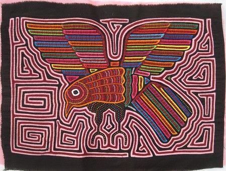 Flying Bird Mola made by Kuna (Cuna) Indian people of Panama's San Blas Islands.