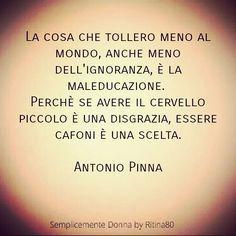 La cosa che tollero meno al mondo, anche meno dell'ignoranza, è la maleducazione. Perchè se avere il cervello piccolo è una disgrazia, essere cafoni è una scelta. Antonio Pinna