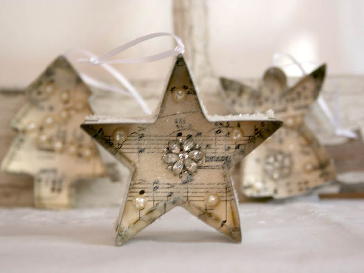 Christmas Ornament - cookie cutter vintage sheet music jewelry glitter. $15.00, via Etsy.
