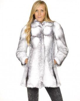 Cassidy Black Cross Long Hair Mink Coat