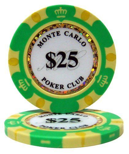 """50 .... $9.99. These 14 gram Monte Carlo clay poker chips will bring the look and feel of a casino card room to any home game. A unique and attractive edge design surrounds an inlay that displays the denomination of each chip, the words """"Monte Carlo Poker Club"""", and a dazzling laser graphic strip that makes these chips sparkle and shine. These chips are eye-catching as well as classy. #money #poker"""
