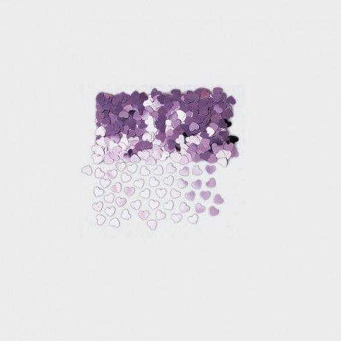 Zakje van paarse confetti hartjes - 14gr. Leuk alternatief om te gooien na de huwelijksceremonie of om te gebruiken als decoratie op de tafel.