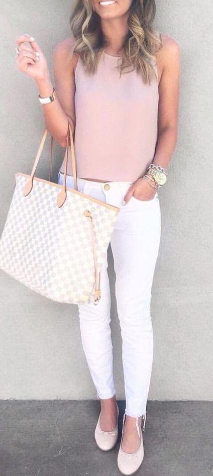 #summer #fashion / pink + white denim