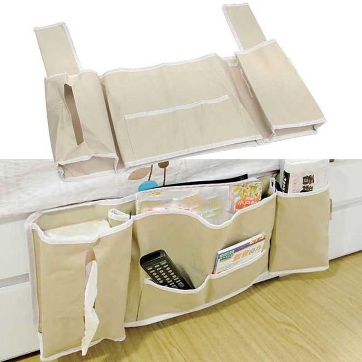 Home Multi-function Bedside Bed Pocket Bed Organizer Hanging Bag Phone Holder Storage Bag