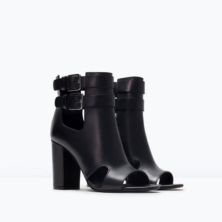 BOTTINES EN CUIR TALON DÉCOUPES-Chaussures-Femme-SHOES & BAGS | ZARA Belgique