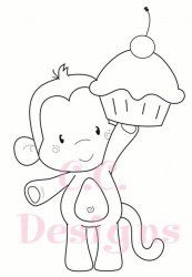 C.C. Designs Birthday Monkey DIGI Image
